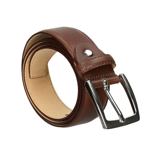 Men's brown leather belt bata, brown , 954-3170 - 13