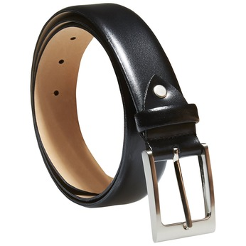 Classical leather belt, black , 954-6819 - 13