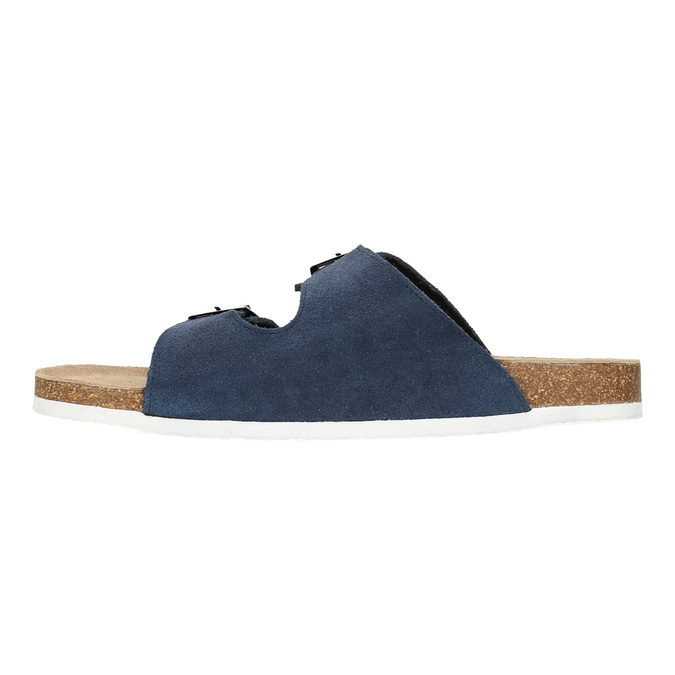 Men's leather slippers, blue , 873-9610 - 26