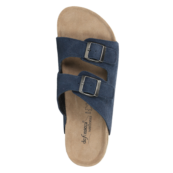 Men's leather slippers de-fonseca, blue , 873-9610 - 19