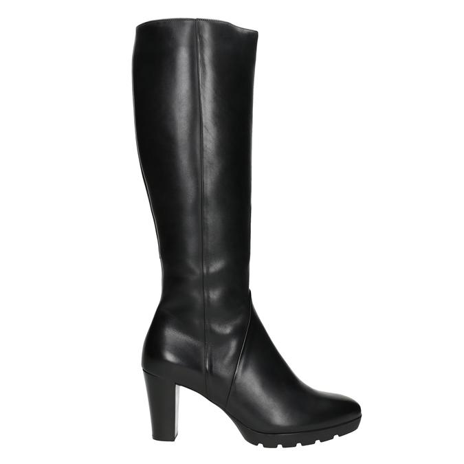 Ladies' leather heeled high boots hogl, black , 794-6009 - 26