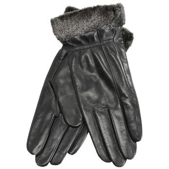 Ladies' leather gloves with fur bata, black , 904-6112 - 13