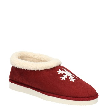 Slippers with artificial fur bata, red , 579-5612 - 13