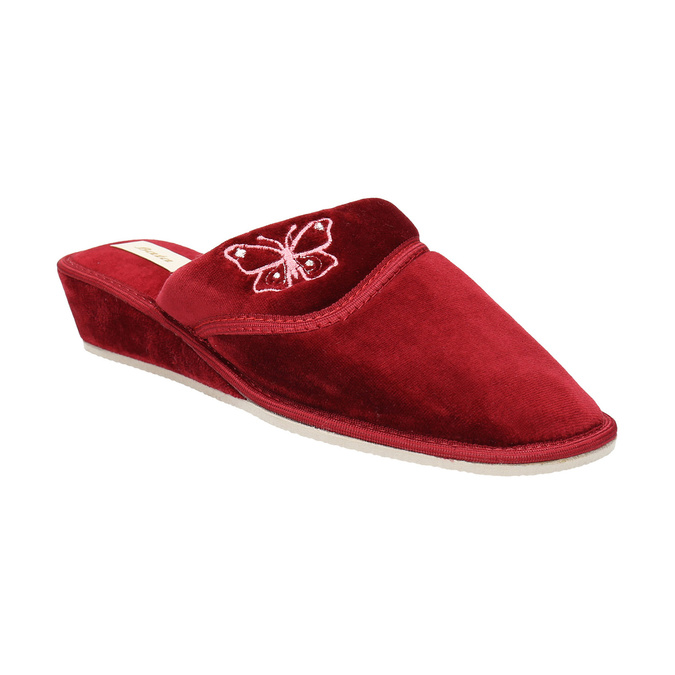 Ladies' wedge-heel slippers bata, red , 679-5607 - 13