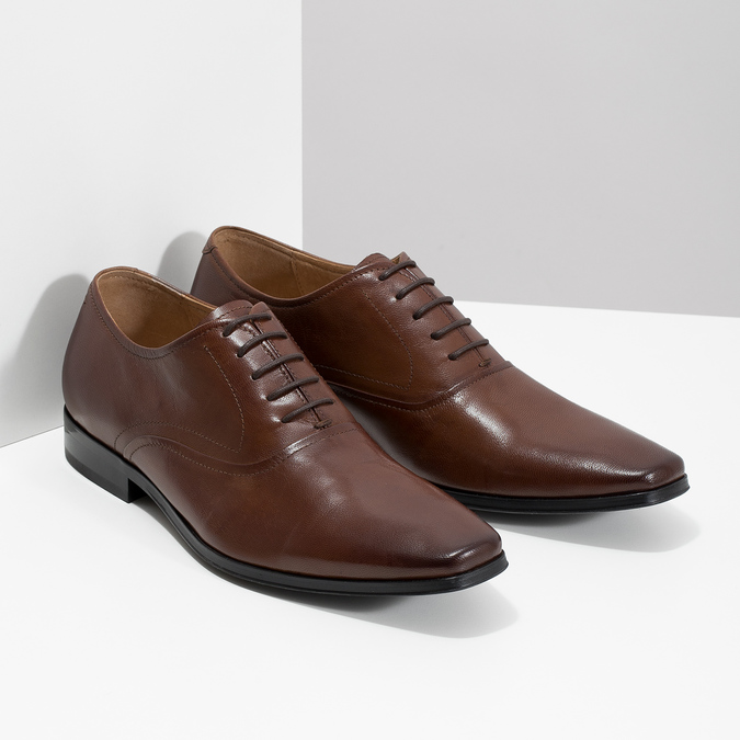 Brown leather Oxford shoes bata, brown , 826-3808 - 26