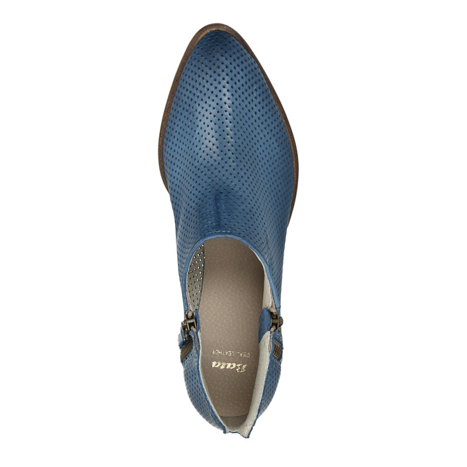 Leather high ankle boots with perforations bata, blue , 596-9647 - 19