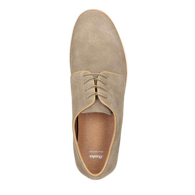 Casual leather shoes bata, beige , 843-8623 - 19