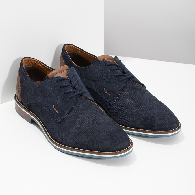 Leather shoes with striped sole bata, blue , 823-9600 - 26