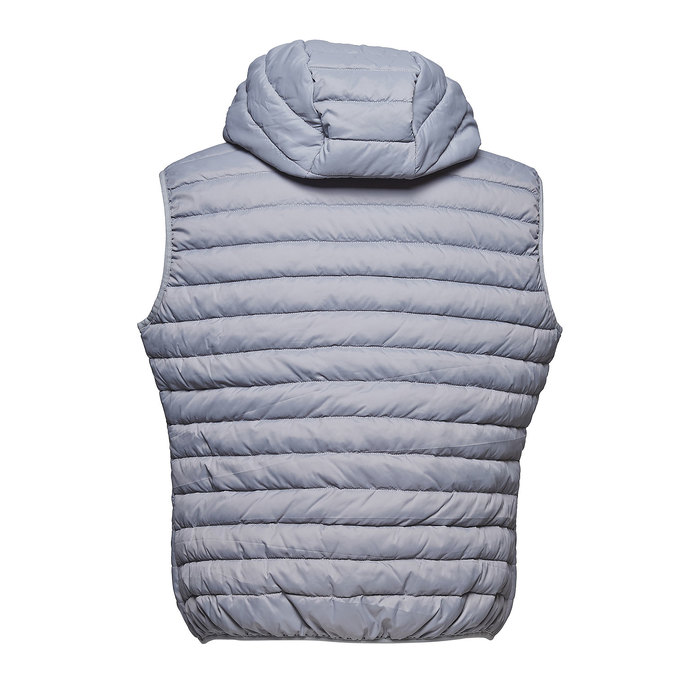 Men's quilted hooded waistcoat bata, gray , 979-2614 - 26