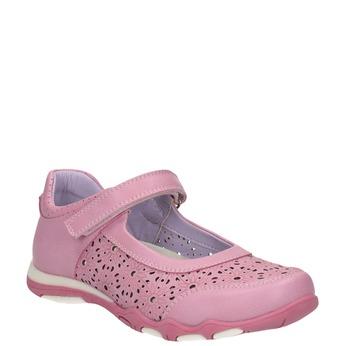 Girls' pink ballet pumps with strap across instep bubblegummer, pink , 321-5603 - 13