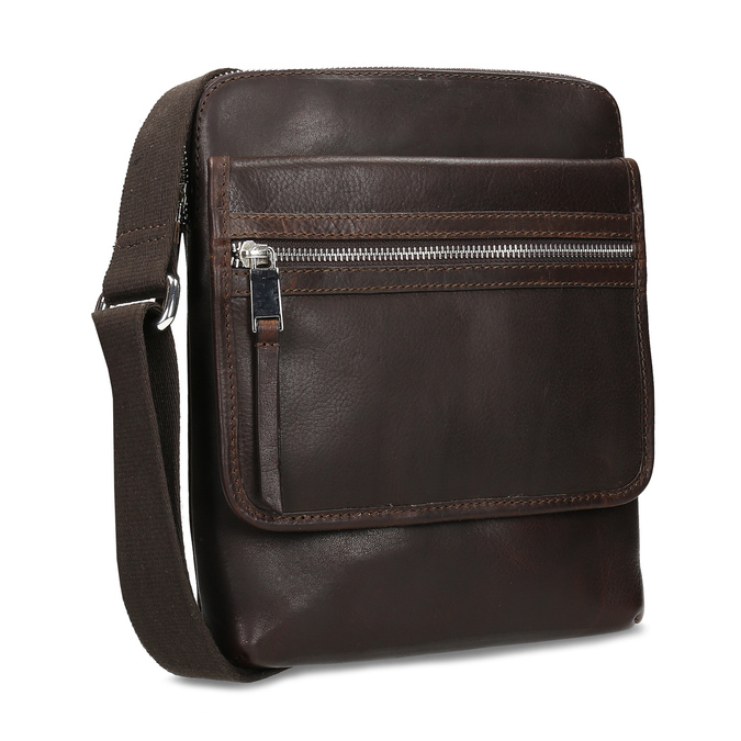 Leather crossbody bag bata, brown , 964-4237 - 13