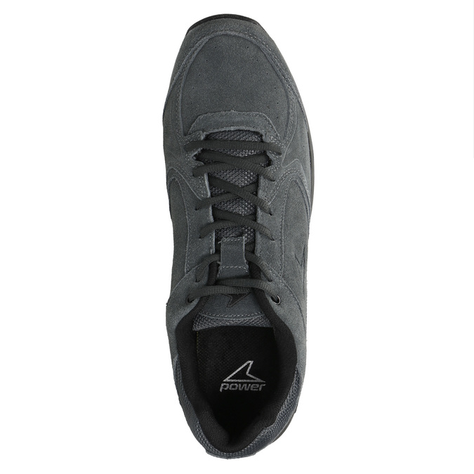 Men's leather sneakers power, gray , 803-2117 - 19