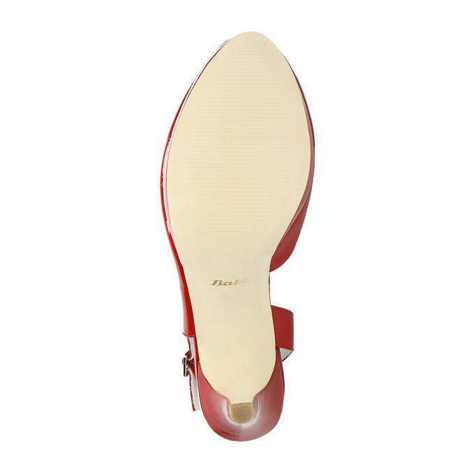 Red leather pumps with open heel insolia, red , 728-5638 - 26
