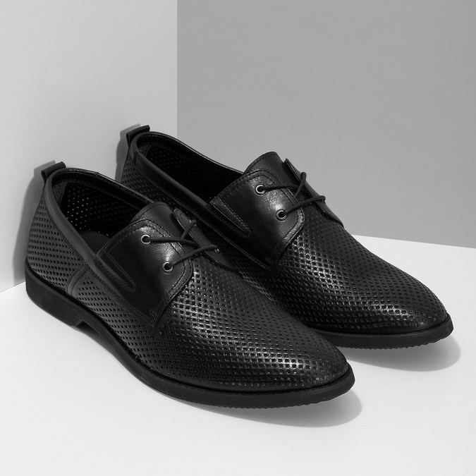 Leather shoes with perforations bata, black , 854-6601 - 26