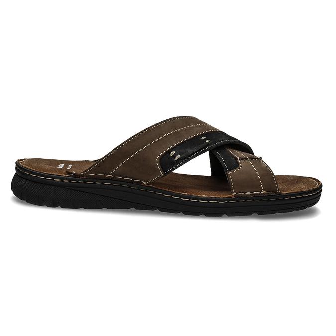 Men's leather slip-ons bata, brown , 866-4612 - 19