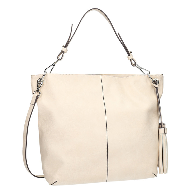 Handbag with tassels, beige , 961-8703 - 13