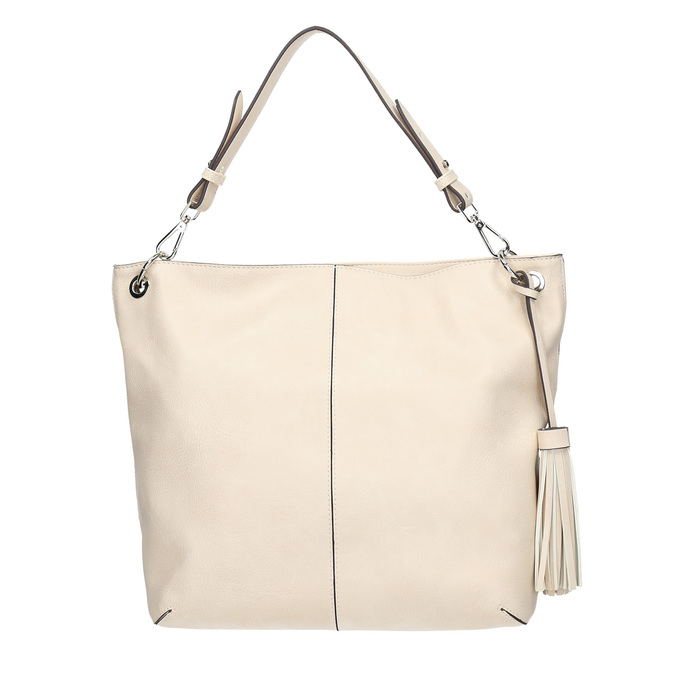 Handbag with tassels, beige , 961-8703 - 26