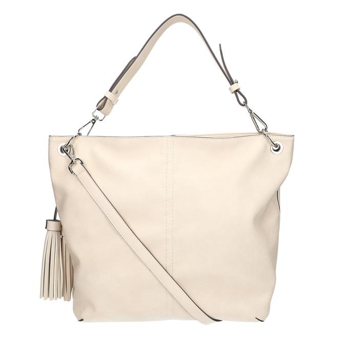 Handbag with tassels, beige , 961-8703 - 19