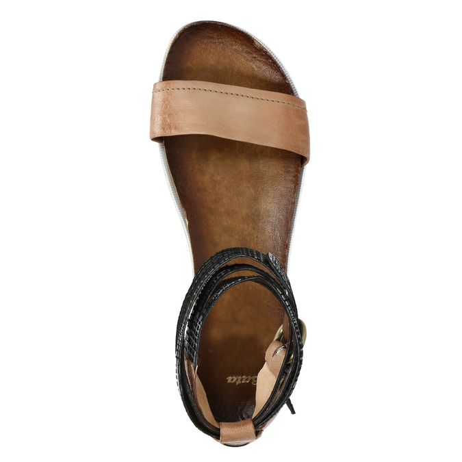 Ladies' sandals with contrasting strap bata, brown , 566-3603 - 19