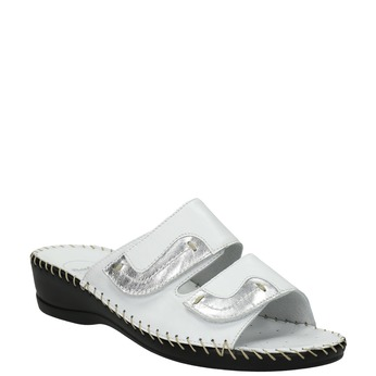 Leather slippers, white , 674-1600 - 13