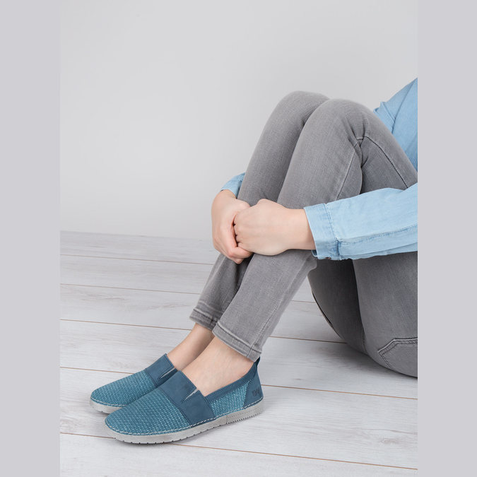 Blue leather slip-ons weinbrenner, blue , 513-9263 - 18