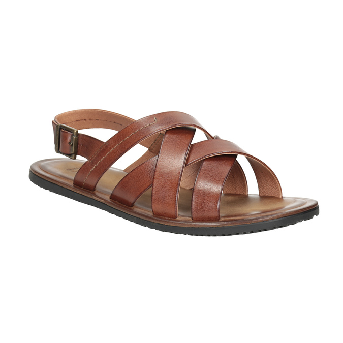 Men's brown leather sandals bata, brown , 866-3602 - 13