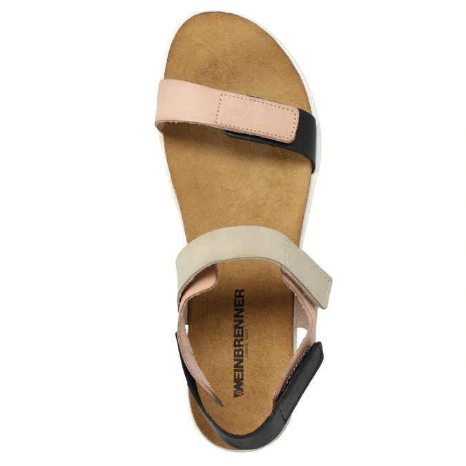 Ladies' leather sandals with Velcro fasteners weinbrenner, pink , 566-3630 - 19