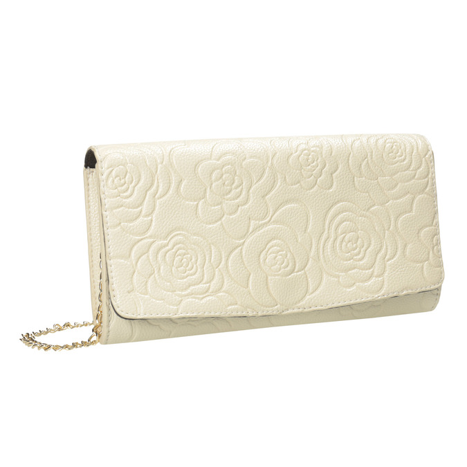 Clutch with floral pattern bata, beige , 961-1723 - 13