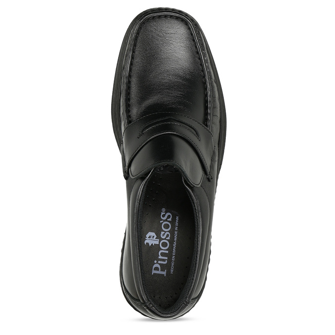 Men's leather moccasins with stitching pinosos, black , 814-6624 - 17