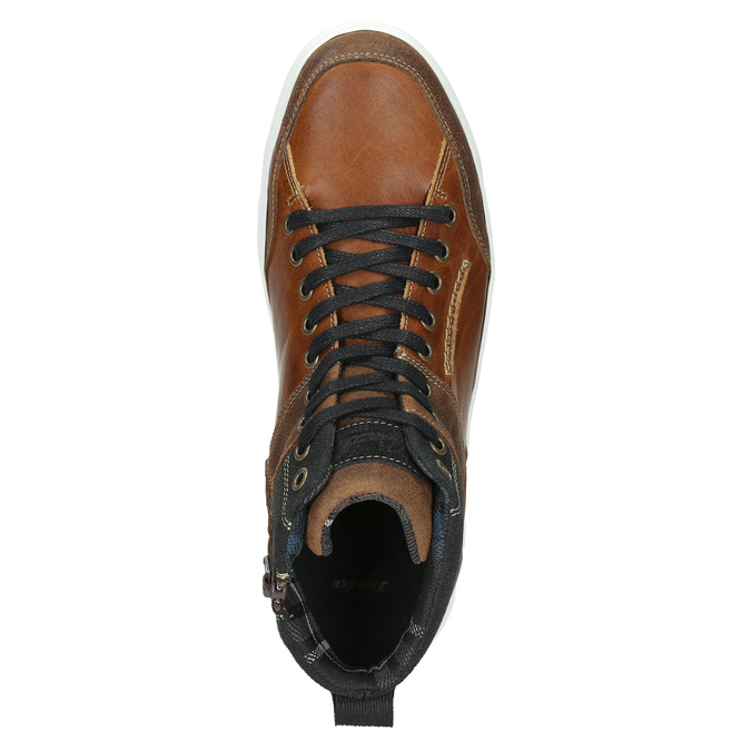 Leather high-top sneakers bata, brown , 846-3640 - 26