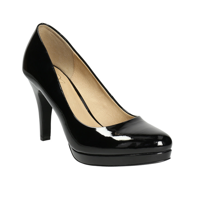 Black patent platform pumps insolia, black , 721-6609 - 13