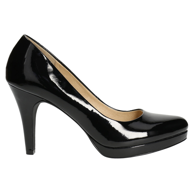 Black patent platform pumps insolia, black , 721-6609 - 15