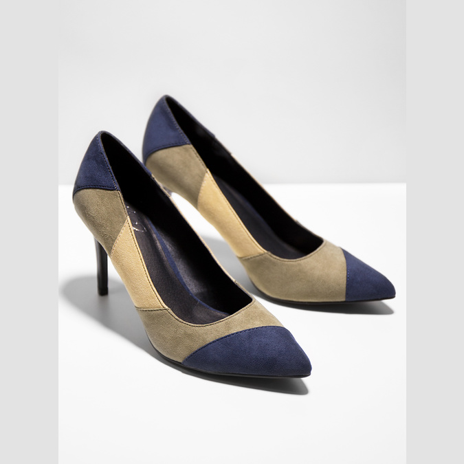 Ladies stiletto pumps insolia, blue , 729-9607 - 19