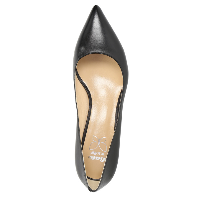Ladies' leather pumps bata, black , 624-6640 - 19