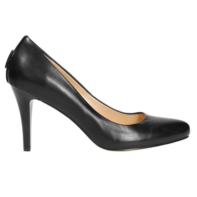 Ladies' leather pumps bata, black , 724-6649 - 15