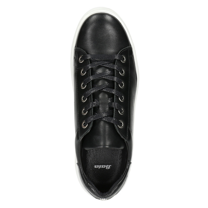 Leather sneakers with a distinctive sole bata, black , 526-6641 - 26
