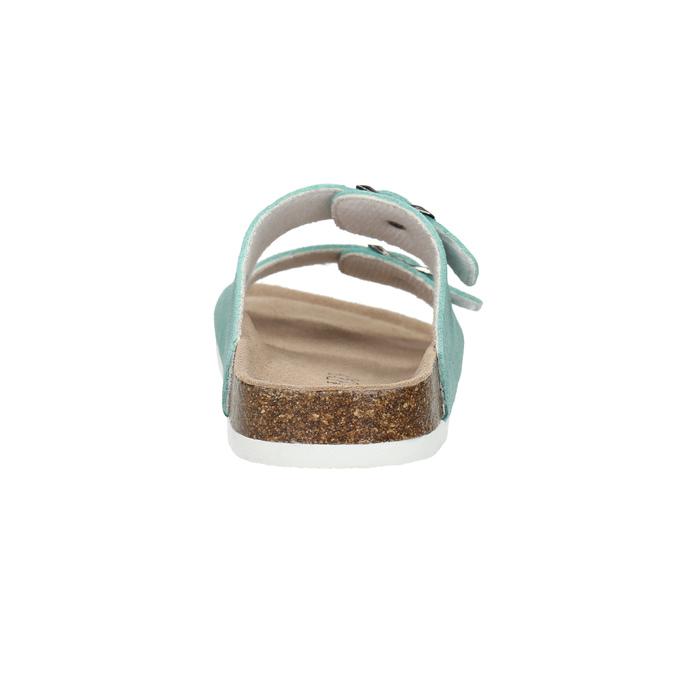 Blue leather sandals de-fonseca, green, 573-7621 - 17