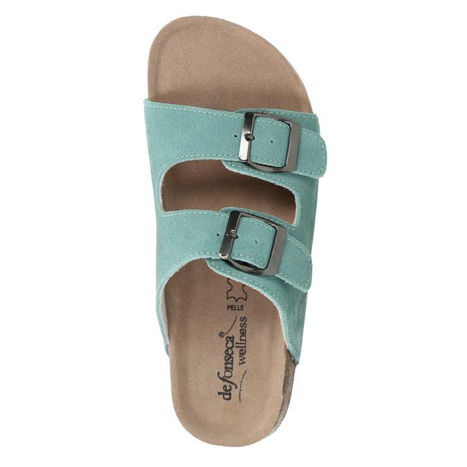 Blue leather sandals de-fonseca, green, 573-7621 - 19
