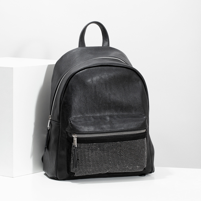 Black backpack with rhinestones bata, black , 961-6855 - 17