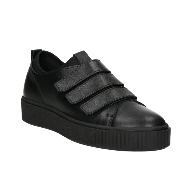 Black leather sneakers with Velcro bata, black , 526-6646 - 13