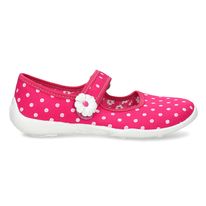House slippers with polka dots mini-b, pink , 379-5214 - 19