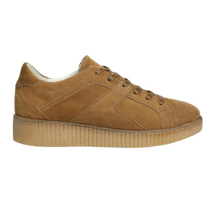 Brown leather sneakers bata, brown , 523-8604 - 15