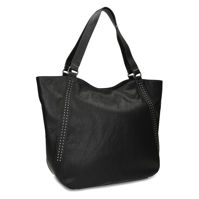 Black studded handbag, black , 961-6787 - 13