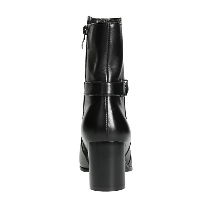 Leather ankle boots with heels bata, black , 696-6648 - 17