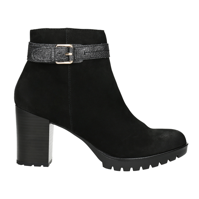 Ladies' Leather Ankle Boots with Buckle bata, black , 796-6644 - 26