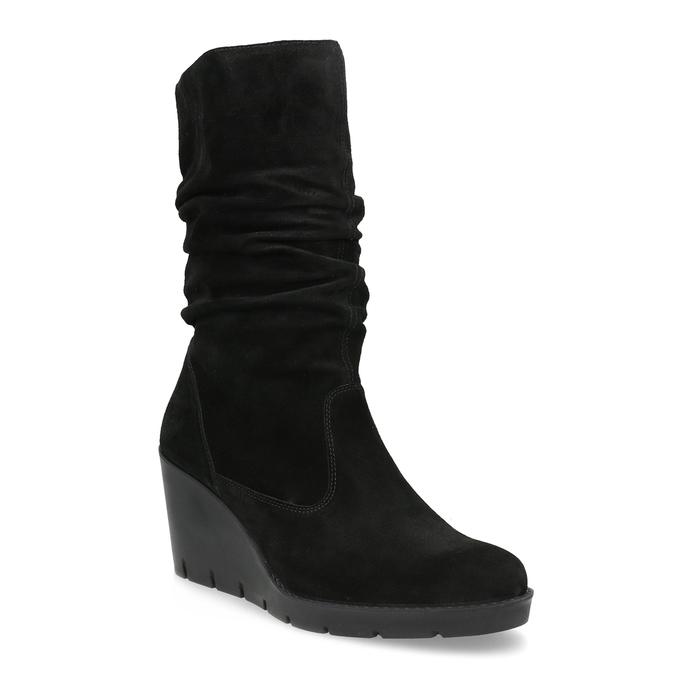 Ladies' Black Wedge High Boots bata, black , 796-6646 - 13