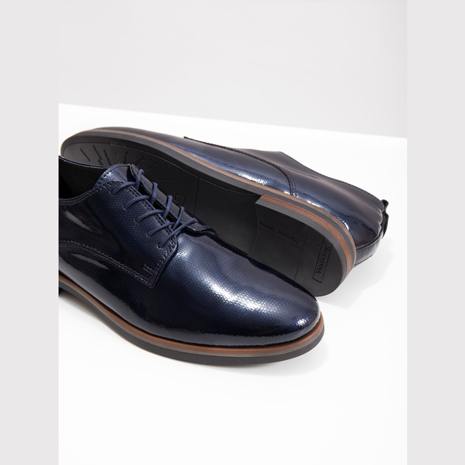 Ladies' leather oxford shoes bata, blue , 528-9600 - 18