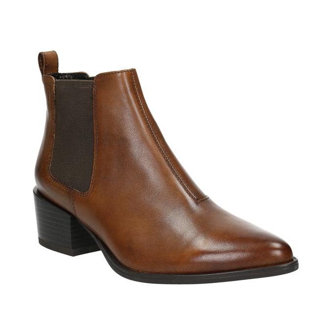 Ladies' leather heeled Chelsea boots vagabond, brown , 614-4020 - 13