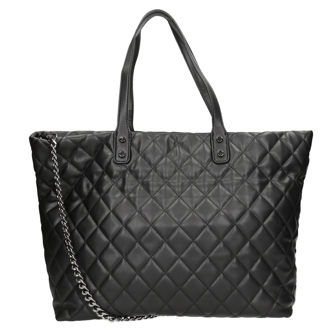 Quilted Handbag with Chain bata, black , 961-6139 - 16