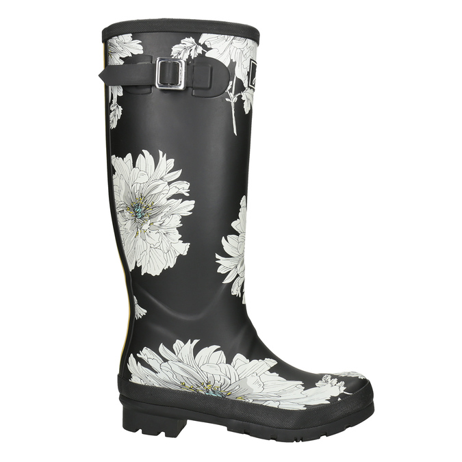 Black Wellington Boots with Floral Pattern joules, black , 502-6043 - 26